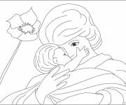 Coloring pages Mom and baby