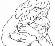 Coloring pages Mom and baby on computer