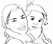 Coloring pages Mom and daughter