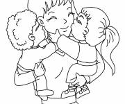 Coloring pages Mom and kids