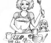 Coloring pages Mom baking a cake
