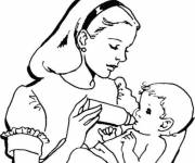 Coloring pages Mom drawing for kid