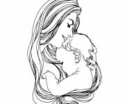Coloring pages Mom hugs her baby