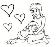 Coloring pages The boy with his loving mom