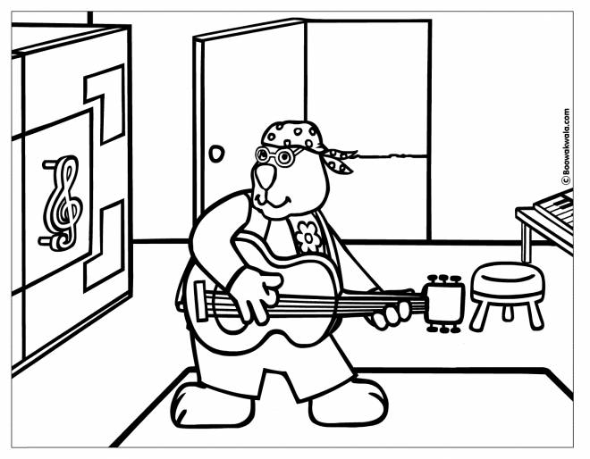 Free coloring and drawings A big rabbit plays the guitar Coloring page