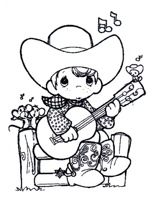 Free coloring and drawings A child guitarist Coloring page
