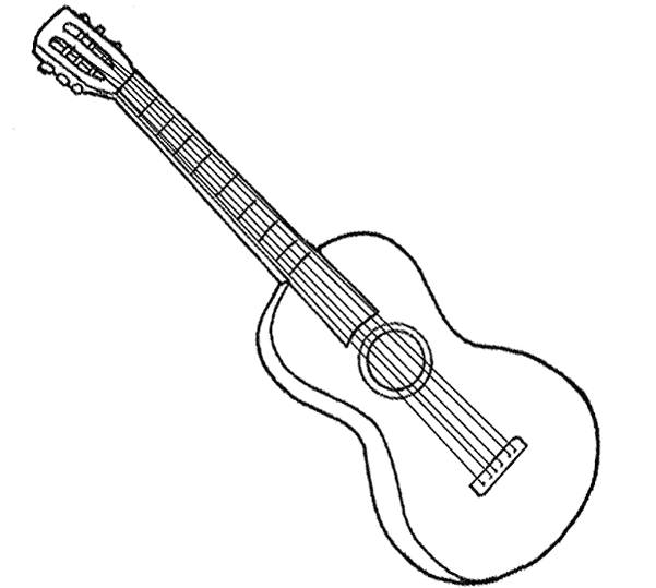 Free coloring and drawings A classical guitar Coloring page