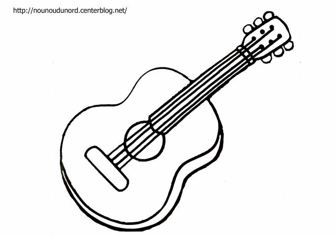 Free coloring and drawings A four-string guitar Coloring page