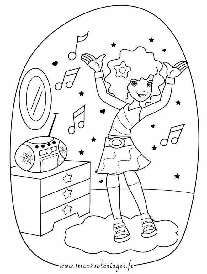 Free coloring and drawings A girl listens to music Coloring page
