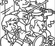 Free coloring and drawings A group of boy musicians Coloring page