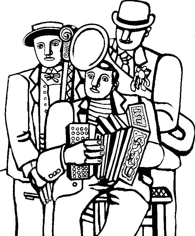 Free coloring and drawings A group of musicians Coloring page