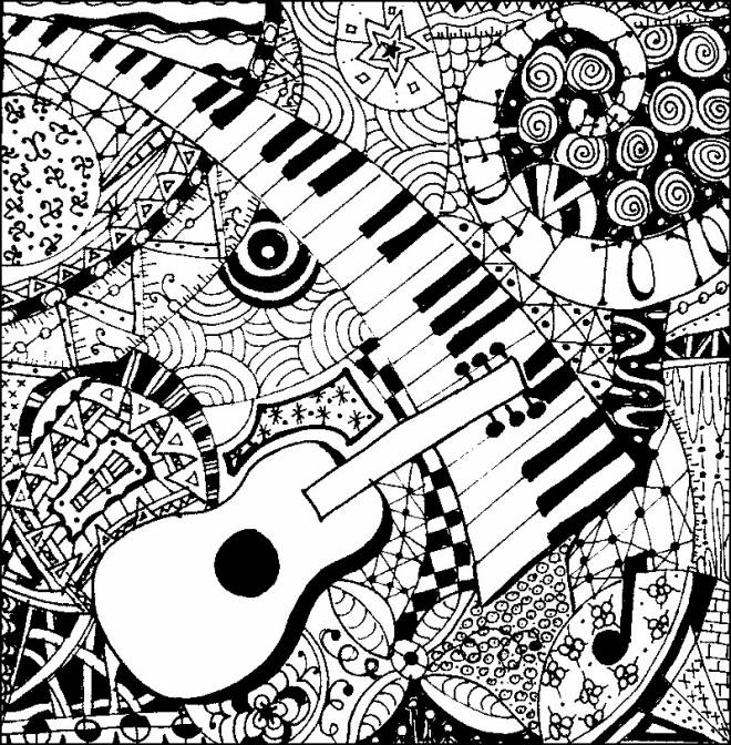Free coloring and drawings A guitar and a piano Coloring page