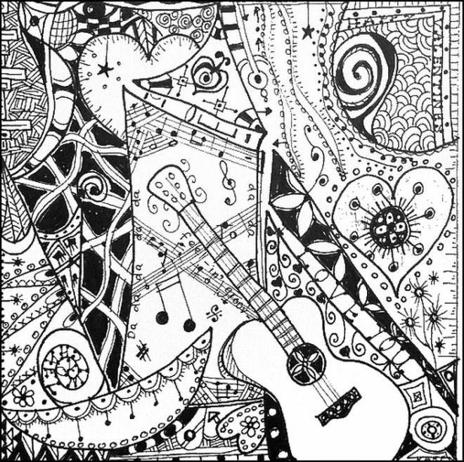 Free coloring and drawings A guitar in a painting Coloring page
