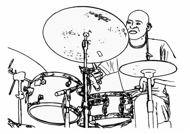 Free coloring and drawings A musician plays drums Coloring page