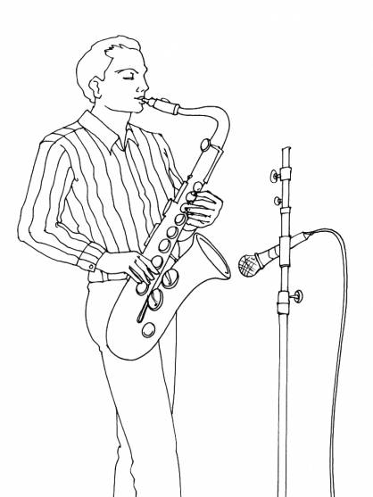 Free coloring and drawings A musician plays the saxophone Coloring page