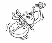 Free coloring and drawings A violin plays music Coloring page