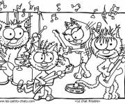 Free coloring and drawings Cats and musical instruments Coloring page