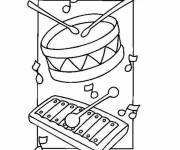 Coloring pages Drum and xylophone