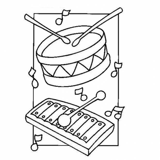 Free coloring and drawings Drum and xylophone Coloring page