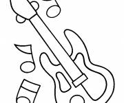 Free coloring and drawings electric guitar and notes Coloring page