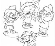 Free coloring and drawings Four children play music and sing Coloring page