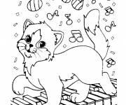 Free coloring and drawings The cat and the piano Coloring page