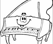 Free coloring and drawings The smiling piano Coloring page