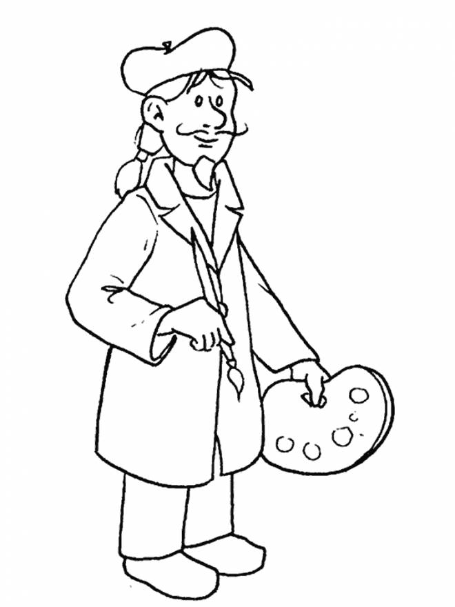 Free coloring and drawings A Painter to color Coloring page
