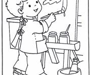 Coloring pages Boy Painter and painting