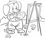 Coloring pages Elephant Painter