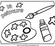 Free coloring and drawings Pallet and Paint Brush Coloring page