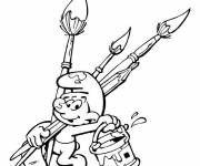 Coloring pages The Painter Smurf
