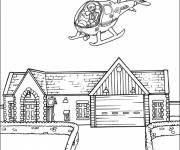 Coloring pages a helicopter flies over a house