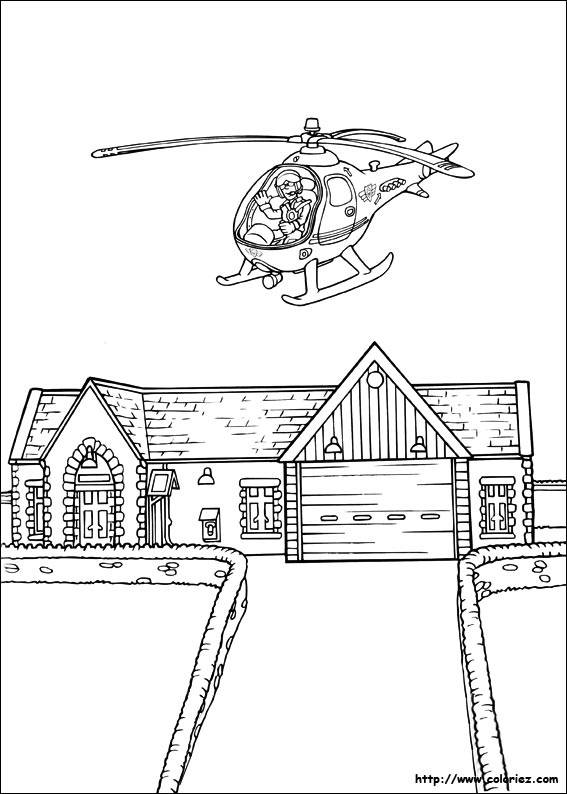 Free coloring and drawings a helicopter flies over a house Coloring page