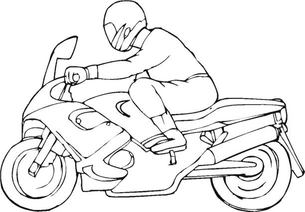 Free coloring and drawings A motorcyclist and his motorcycle Coloring page