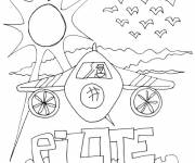 Coloring pages An airplane under the rays of the sun