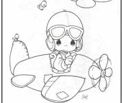 Coloring pages Baby pilot an airplane