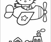 Coloring pages Hello Kitty and plein vole