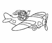 Coloring pages The rabbit pilots an airplane