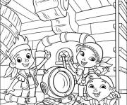 Coloring pages Children on pirate ship