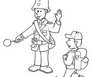 Coloring pages A police officer manages traffic