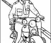 Coloring pages A policeman on a motorcycle