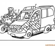 Coloring pages Motorcycle and police car
