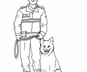 Coloring pages Police and officer dog