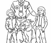 Coloring pages Police and officer dog with two children