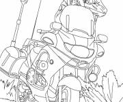 Coloring pages Policeman pulls out his gun near his motorcycle