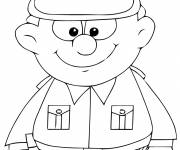Coloring pages Policeman wears American uniform