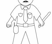 Coloring pages Policeman with a stick in his hand