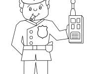 Coloring pages Policeman with portable radio in hand