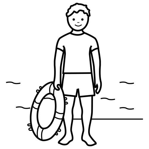 Free coloring and drawings Child lifeguard Coloring page